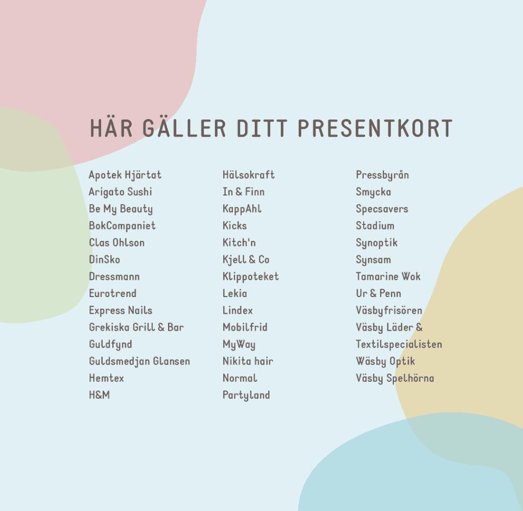 Här gäller ditt presentkort i Väsby Centrum